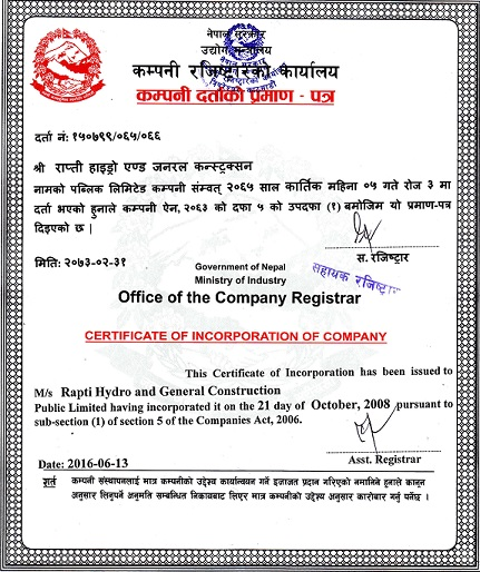 Rapti Hydro And General Construction Ltd